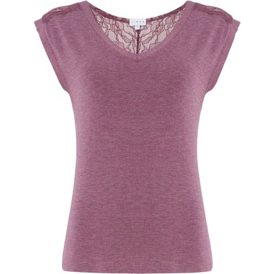 Linea Dusky pink lace jersey top, Pink