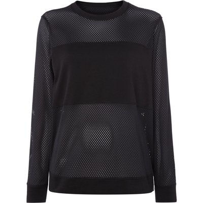 Label Lab Mesh striped block jersey top, Black