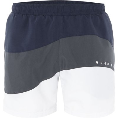 Men's Hugo Boss Butterfly Fish Curve Striped Swim Shorts, White