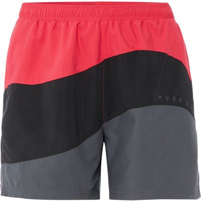 Men's Hugo Boss Butterfly Fish Curve Striped Swim Shorts, Pink