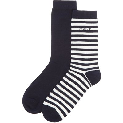 Gant Two Pack Of Striped And Block Coloured Socks, Blue