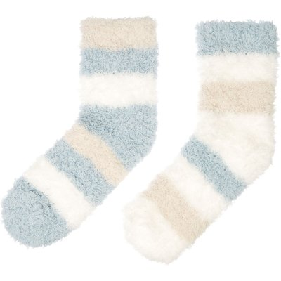Elle Supersoft cosy socks with stripe, Light Blue