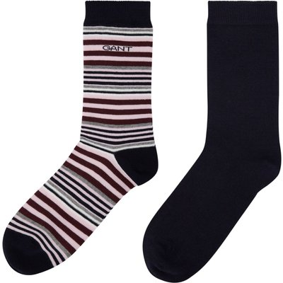 Gant Two Pack Of Striped And Block Coloured Socks, Pale Pink