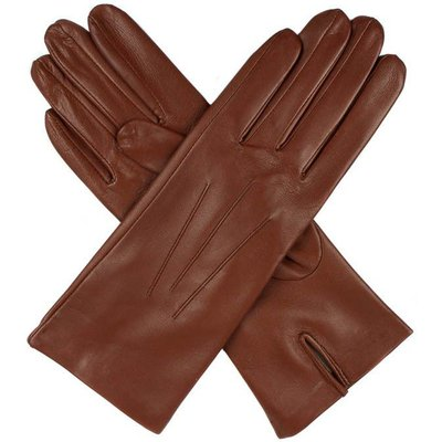 Dents Ladies silk lined leather glove, Cognac