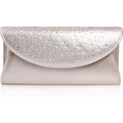 Carvela Delilah jewel clutch bag, Silver