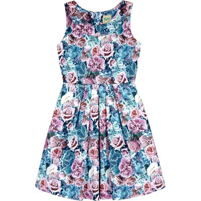 Yumi Girls Floral Print Pleated Dress, Multi-Coloured