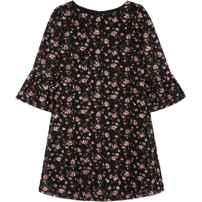 Yumi Girls Floral Printed Lace Dress, Black