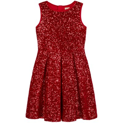 Yumi Girls Sequin Party Dress, Red