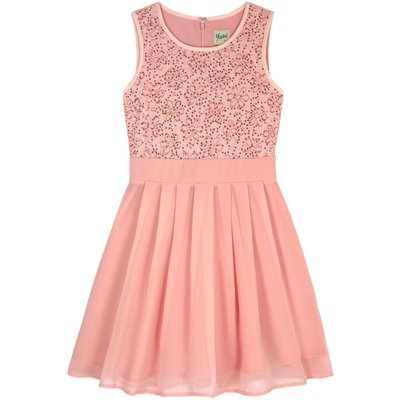 Yumi Girls Sequin Floral Lace Party Dress, Pink