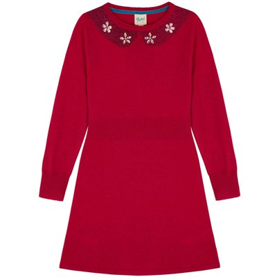 Yumi Girls Embellished Collar Jumper Dress, Pink