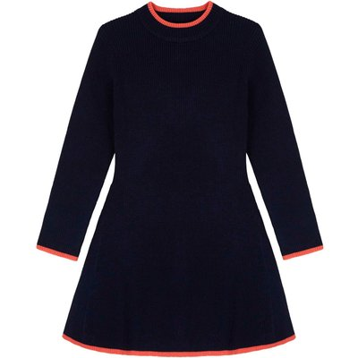 Yumi Girls High Neck Knitted Skater Dress, Blue