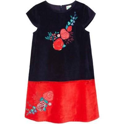 Yumi Girls Floral Embellished Velvet Shift Dress, Blue