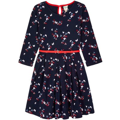 Yumi Girls Butterfly Print Jersey Dress, Blue