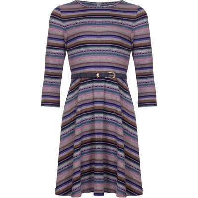 Yumi Girls Striped Belt Dress, Multi-Coloured