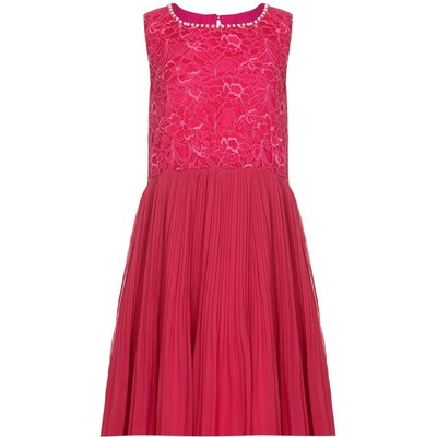 Yumi Girls Lace Embellished Neckline Party Dress, Pink