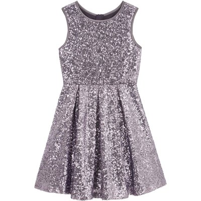 Yumi Girls Sequin Party Dress, Grey