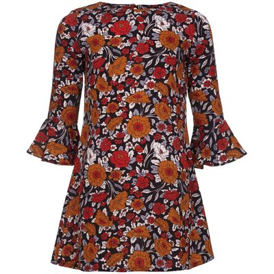 Yumi Girls Floral Bell Sleeve Tunic Dress, Multi-Coloured