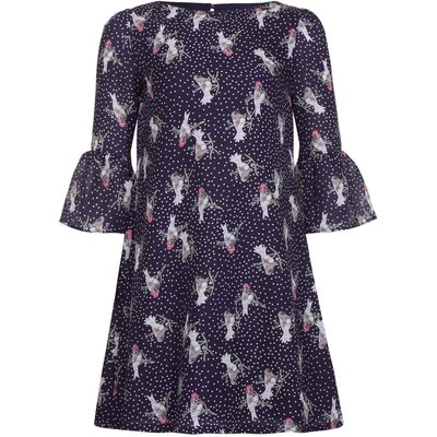 Yumi Girls Bird Spot Printed Dress, Blue