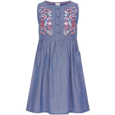 Yumi Girls Embroidered Smock Dress, Blue