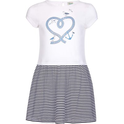 Yumi Girls Nautical Stripe Rope Dress, White