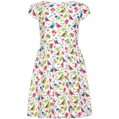 Yumi Girls Bird Print Short Sleeve Party Dress, White