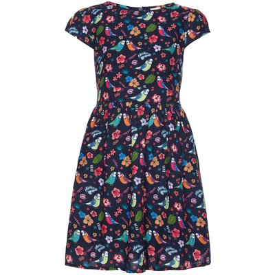 Yumi Girls Bird Print Short Sleeve Party Dress, Blue