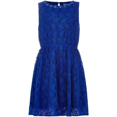 Yumi Girls Lace Embellished Neckline Dress, Blue