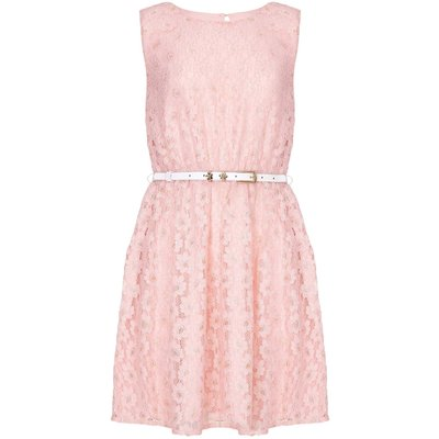 Yumi Girls Metallic Daisy Lace Dress, Pink