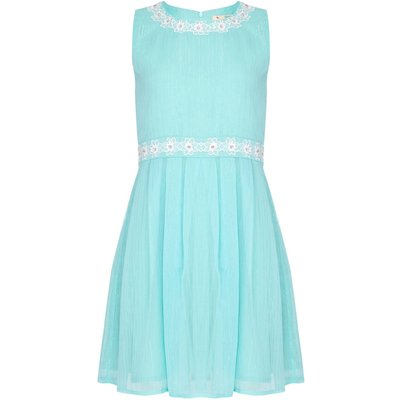 Yumi Girls Floral Embellished Lurex Dress, Green