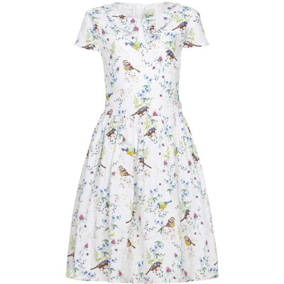 Yumi Girls Bird Tea Dress, White