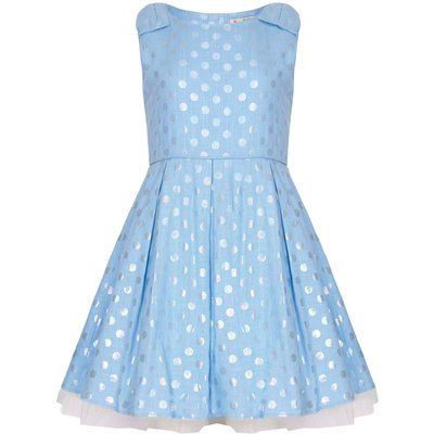 Yumi Girls Polka Dot Party Dress, Blue