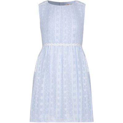 Yumi Girls Daisy Trim Lurex Dress, Blue