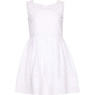 Yumi Girls Cotton Bow Detail Dress, White