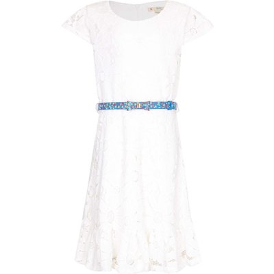 Yumi Girls Floral Lace Belted Dress, White