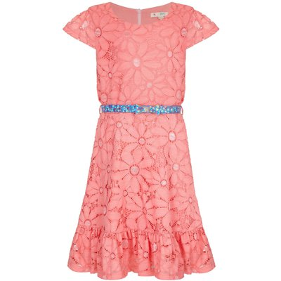 Yumi Girls Floral Lace Belted Dress, Red