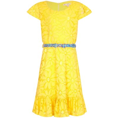 Yumi Girls Floral Lace Belted Dress, Yellow