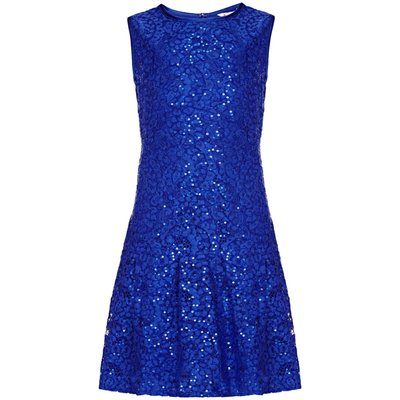 Yumi Girls Drop Waist Lace Dress, Blue