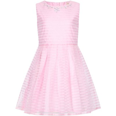 Yumi Girls Embellished Stripe Party Dress, Pink