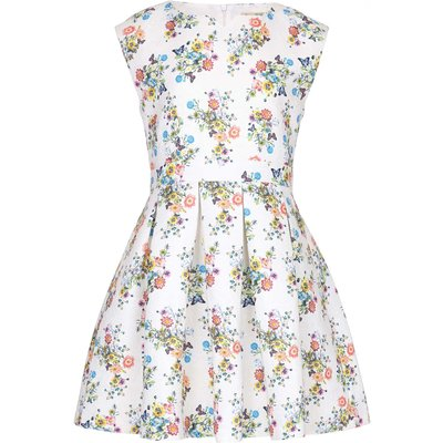 Yumi Girls Floral Butterfly Skater Dress, Multi-Coloured