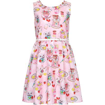 Yumi Girls Tea Party Print Belted Dress, Pink