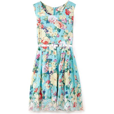 Yumi Girls Floral Print Embroidery Hem Dress, Green