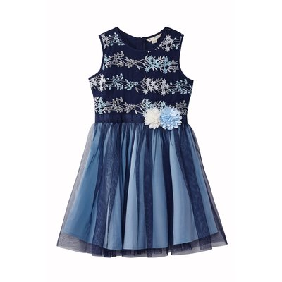 Yumi Girls Embroidered Floral Ombre Dress, Blue