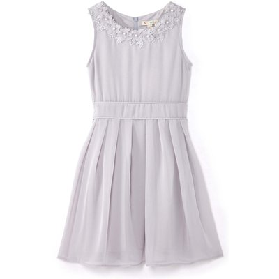 Yumi Girls Embellished Flower Party Dress, Grey