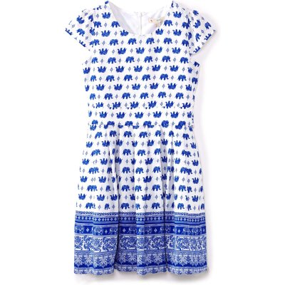 Yumi Girls Elephant Print Short Sleeve Dress, Blue