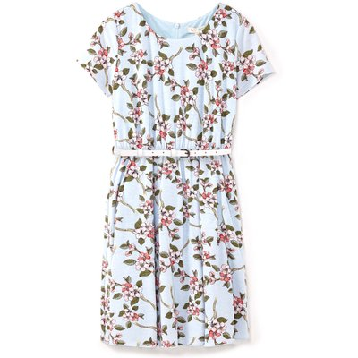 Yumi Girls Floral Belted Dress, Blue