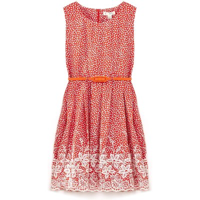 Yumi Girls Floral Print Belted Dress, Red