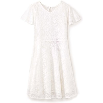 Yumi Girls Lace Short Sleeve Occasion Dress, Cream