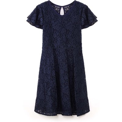 Yumi Girls Lace Short Sleeve Occasion Dress, Blue