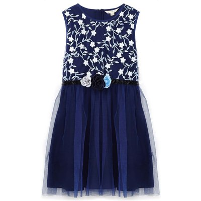 Yumi Girls Floral Prom Dress, Blue