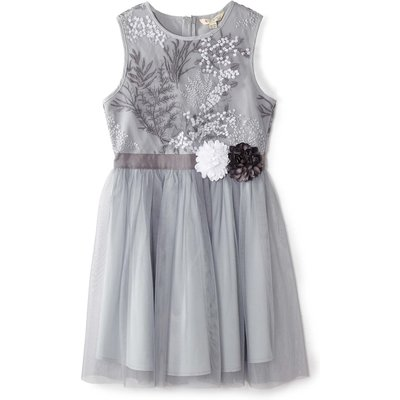 Yumi Girls Floral Embroidered Dress, Grey